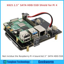 Raspberry Pi 4 modèle B, 2.5 pouces, carte dextension de stockage SATA HDD/SSD, Module de disque Mobile X825 et usb 3.1 pour Raspberry Pi 4B