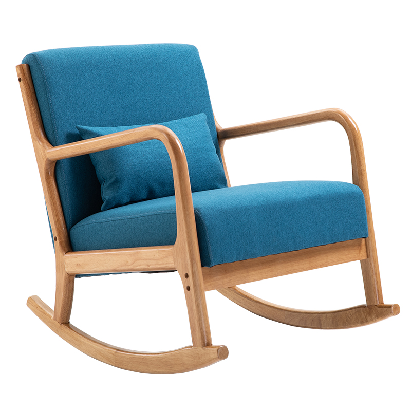 Nordic Solid Wood Rocking Chair Household Rocking Chair Leisure Chair Lazy Sofa Single Sofa Chair Balcony Leisure Chair