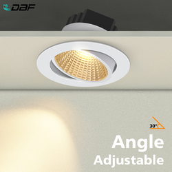 [DBF]Black/White Round Recessed LED Dimmable Downlight COB 6W 9W 12W 15W LED Spot Light LED Decoration Ceiling Lamp AC 110V/220V