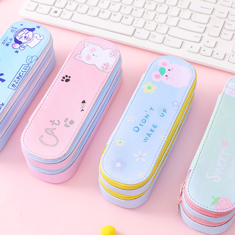 1Pcs Kawaii Pencil Case Ins Large Capacity Canvas Double Layer School Pencil Box Pencilcase School Supplies Stationery