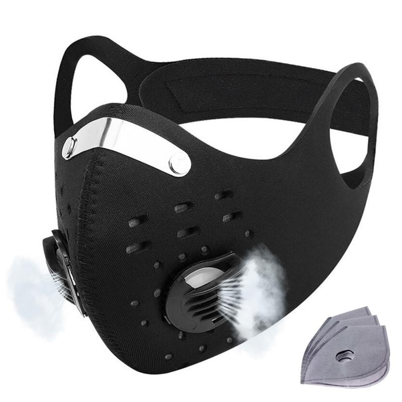 Cycling Mask KN95 With Breathing Valve FFP3 N95 Dust Mask 5 Layer Protective PM2.5 Mouth Face Mask Activated Carbon Filter New