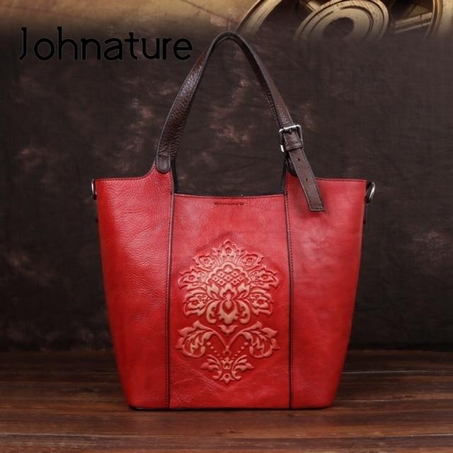 Johnature Retro Luxury Handbags Women Bucket Bag 2020 New Vintage Large Capacity Floral Cowhide Handmade Embossing Shoulder Bags