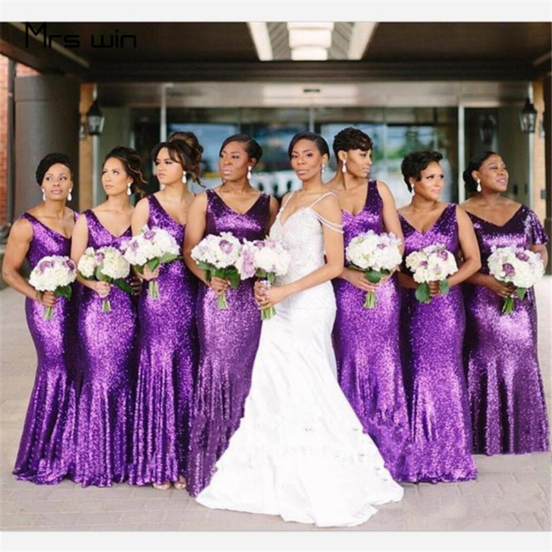 Mrs Win Bridesmaid Dresses Elegant Bling Purple Sequins Wedding Party Dress V-neck Plus Size Long Mermaid Vestido Madrinha HR175