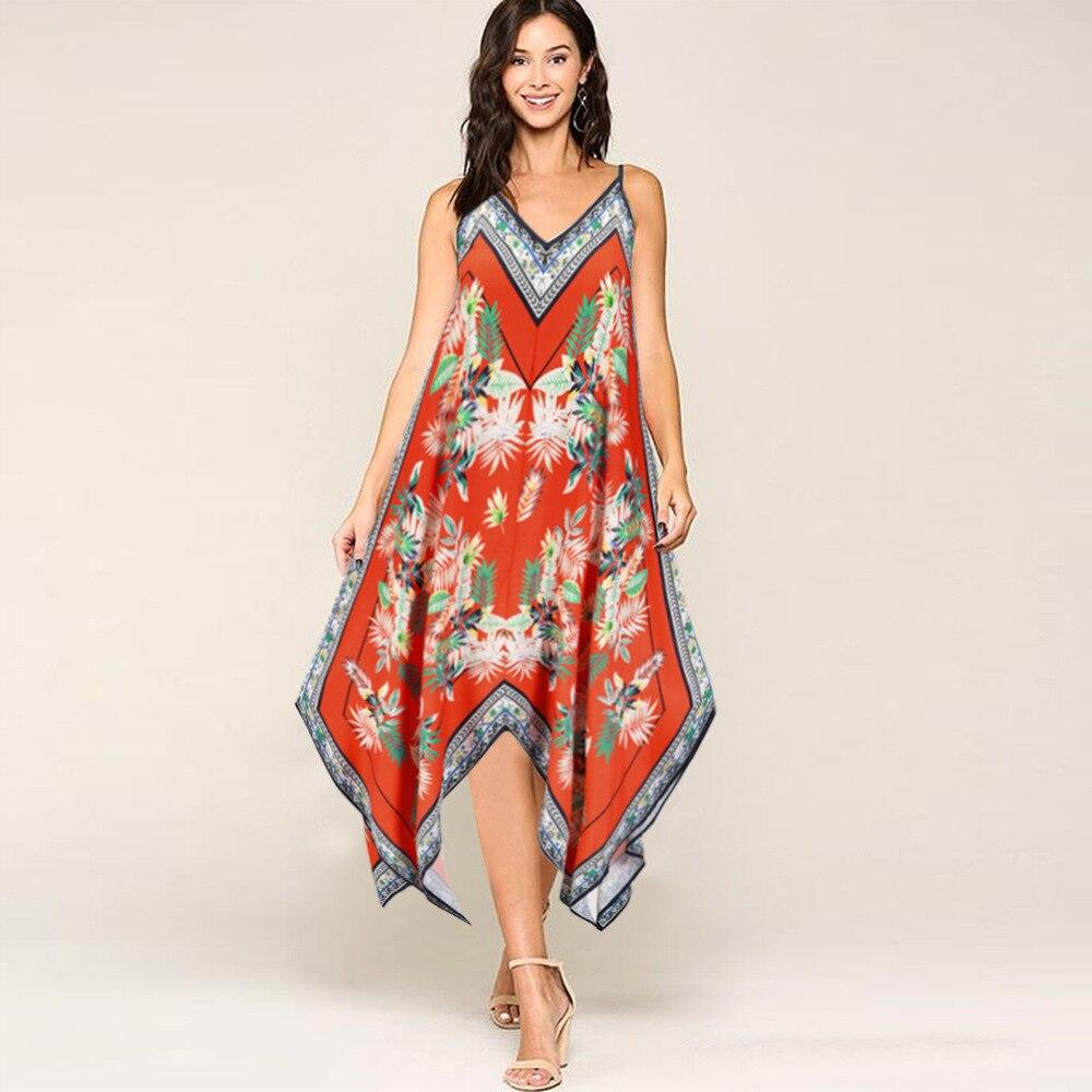 Женское асимметричное платье средней длины, Элегантное повседневное платье с цветочным принтом в богемном стиле, свободное пляжное винтаж...
