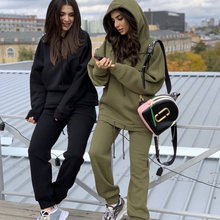 Casual tracksuit two piece set women oversized hoodie and pants