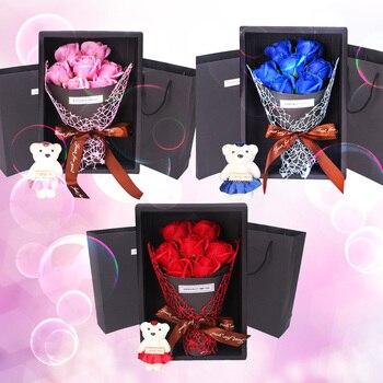 Bonito ramo de rosas artificiales de jabón de baño con oso de peluche de juguete para regalos de cumpleaños de aniversario de San Valentín