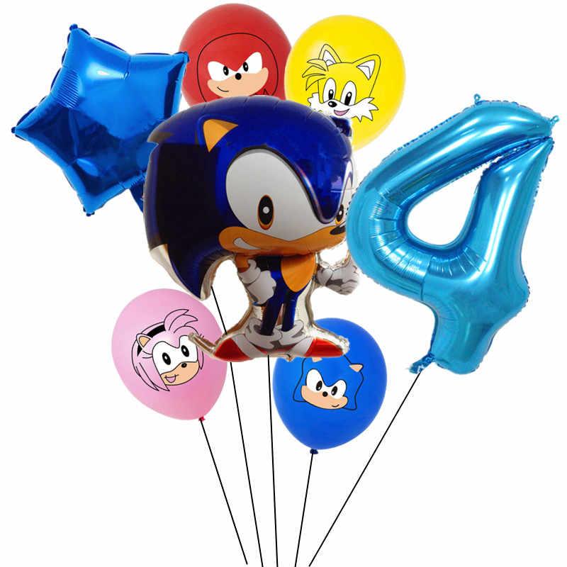 Sonic The Hedgehog Folie Ballon Met 32Inch Nummer Ballon Gelukkige Verjaardag Feestartikelen Speelgoed Voor Kinderen Globos
