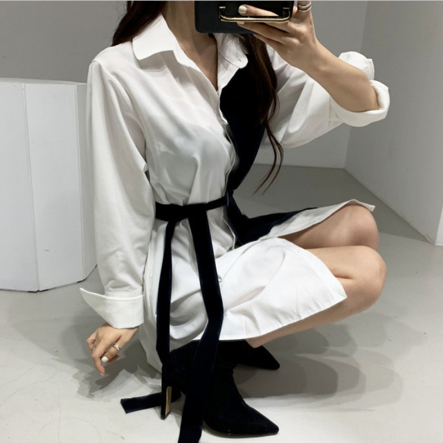 Gagaok Korean Style Spring Dress Women New 2020 Autumn Cotton Fake Two-Piece Ladies Shirt Dresses Long Sleeve Women Clothing 4