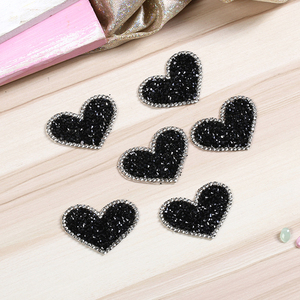 6pcs/lot Black Love Heart Melt Drilling Rhinestone Parches Ropa Iron-on Patches Transferts Thermocollants(China)