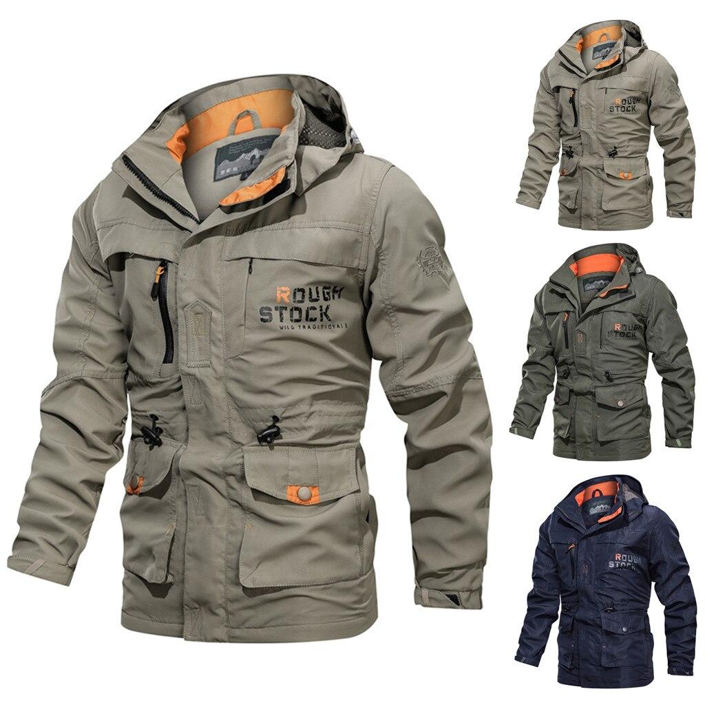 Jackets Men's Casual Autumn Winter Long Sleeve Hooded Zipper Outdoor Waterproof Jacket куртка мужская Streetwear Purchasing