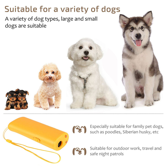 Pet Dog Repeller Anti Barking Stop Bark Training Device Trainer LED Ultrasonic 3 in 1 Anti Barking Ultrasonic Without Battery- 5