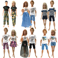 цена NK 2 Pcs /Set Daily Casual Couple Doll Dress  For Barbie Doll Accessories  Boy Girl Clothes  Birthday Gift Toy For Ken Doll  JJ онлайн в 2017 году