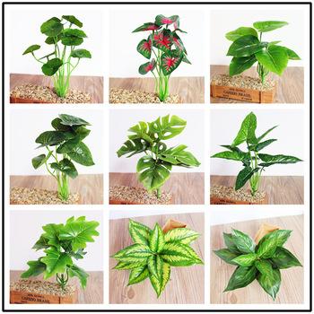 Zielone sztuczne rośliny ślub dekoracje ścienne kwiat zielone liście pulpit Bonsai akcesoria tanie i dobre opinie Wusmart CN (pochodzenie) Z tworzywa sztucznego Liść