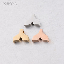 X-ROYAL 10Pcs/lot Fish Tail Shape 9.5*12mm Loose Beads Stainless Steel DIY Jewelry Making Findings Mermaid Spacer
