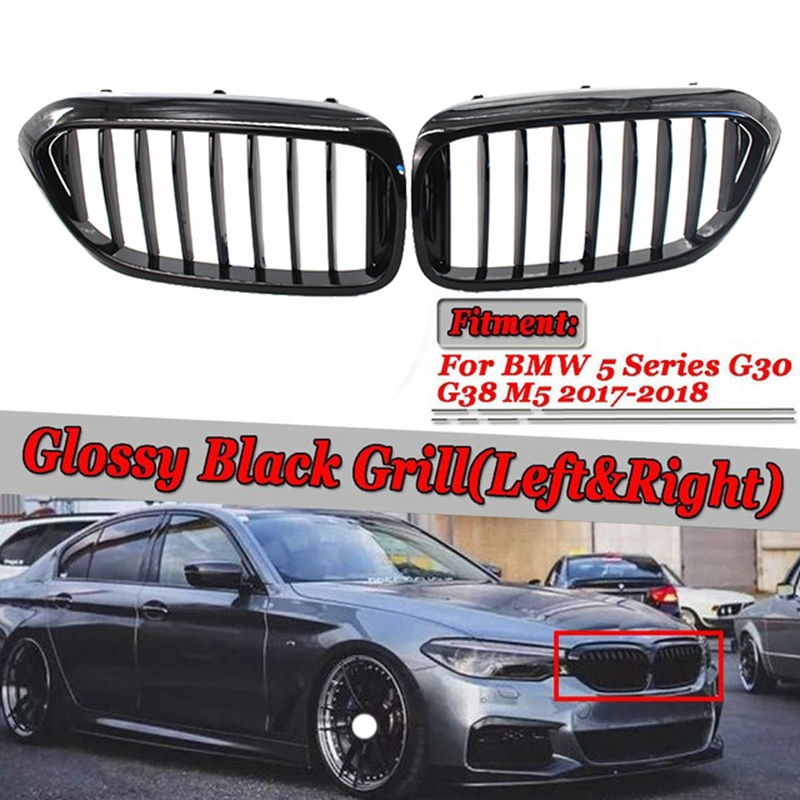 1 Pair Front Kidney Grille for Bmw New 5 Series <font><b>G30</b></font> G38 2018-2019 Grille Gloss Black Front Bumper Slat <font><b>Grill</b></font> image