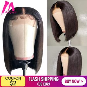 Bob Wig Closure Short Human-Hair-Wigs Lace-Front Straight Women Brazilian Long for Black