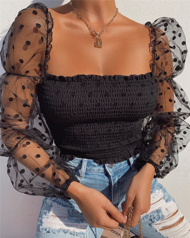 Sexy Women Long Puff Sleeve Mesh Sheer See Through T-shirt Tops Transparent Lace Patchwork Stretch Square Neck T-shirt Outwear