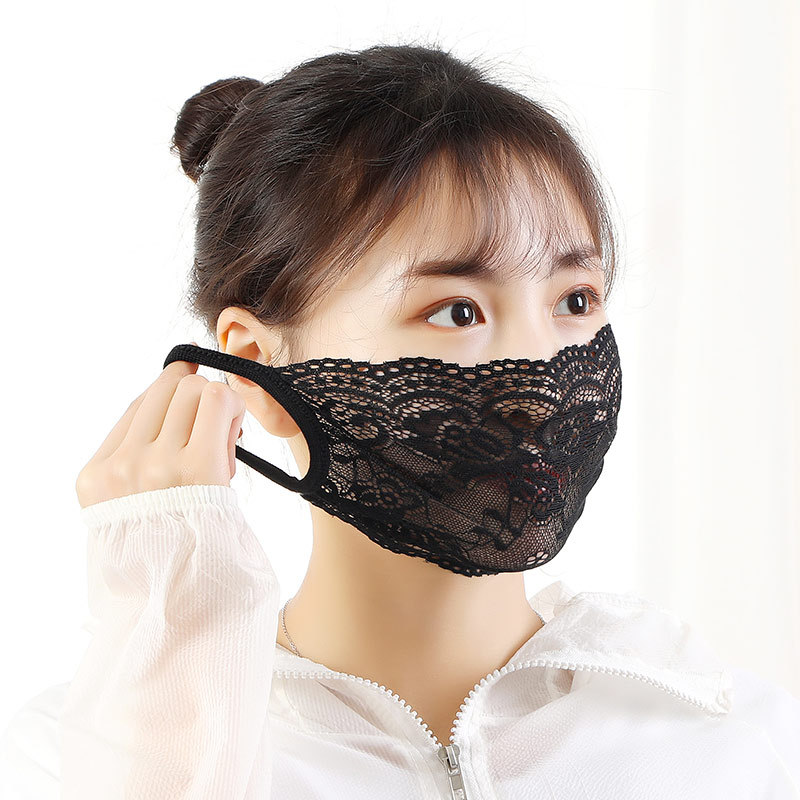 Fashion Lace Cotton Face Mask   Black Disposal Mask For Lady