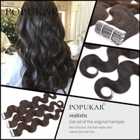 Popukar Human Virgin Hair 20PCS Silky Body Wave 2g/piece Deep color 2# European Hair Tape in Hair Extensions