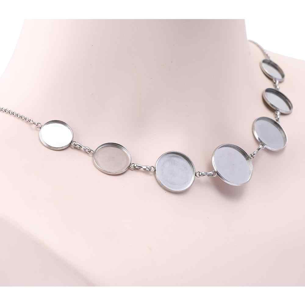 2 pièces 14mm 16mm 18mm 20mm cabochon pendentif base réglage plateaux bricolage blanc collier lunette résultats en acier inoxydable