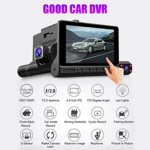 Image 1 - Full HD 1080P gece görüş çizgi kam 4.0 inç dokunmatik ekran dikiz aynası Video uzaktan kaydedici araç içi kamera Registrator