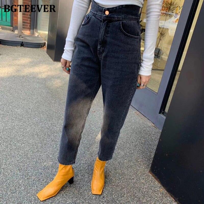 BGTEEVER 2020 Spring Fashion High Waist Pockets Women Black Jeans Casual Loose Female Denim Trousers Harem Jeans Pants Femme