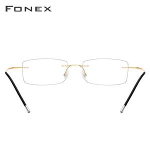 Image 5 - FONEX سبائك التيتانيوم بدون إطار نظارات الرجال مربع وصفة النظارات رجل فرملس قصر النظر إطارات النظارات البصرية 76127