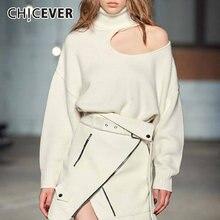 Chicever свитер с дырками для женщин водолазка длинным рукавом