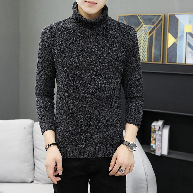 Mens Sweater Black Long Sleeve Khaki Gray Winter Turtleneck Casual Pullovers Solid Thick Mens Sweaters New Fashion