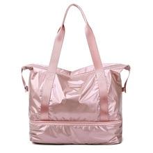 Glossy Gym Bag Dry Wet Travel Fitness Bag For Men Tas Handbags Women Nylon Luggage Bag With Shoes Pocket Traveling Sac De Sport