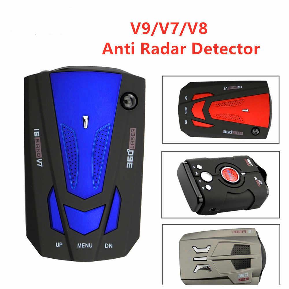 Melhor Carro 360 Graus 16 Banda Display LED V9/V7/V8 Anti Aviso de Alerta de Voz Detector De Radar De Velocidade com A Rússia Inglês