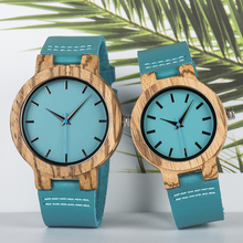 BOBO BIRD Women Men Watches Blue Leather Strap Lovers' Quartz WristwatchTimepiec