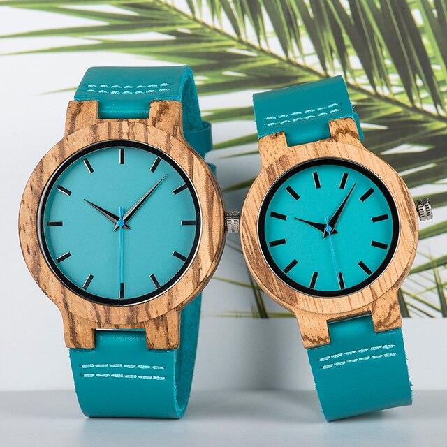 ボボ鳥女性男性腕時計ブルーレザーストラップカップルクォーツ腕時計愛好家のギフト時計木製腕時計ボックスドロップシップリロイhombre