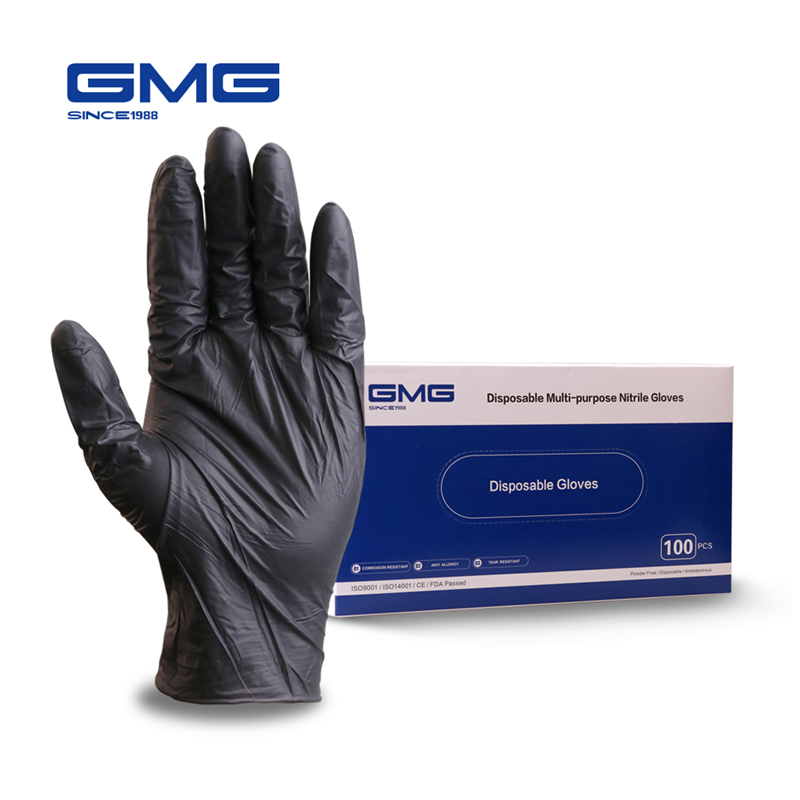 Disposable Nitrile Gloves GMG Black 100pcs/box Oil Resistant Grade Waterproof Allergy Free Disposable Safety Gloves Mechanic