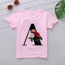 Camiseta del alfabeto para chica, camiseta de cumpleaños de flores, camiseta de regalo, ropa informal, camiseta rosa para niño, camisa de cuello redondo