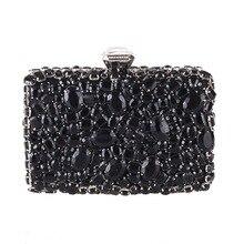 2020 New Women Clutch Bag Luxury Banquet Pruse Black Rhinestones Evening Party Handbag Wedding Wallet Fashion