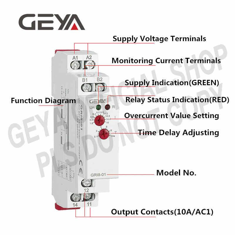 GEYA GRI8-01 relais de surveillance de courant 10A relais de détection de courant Din moniteur de courant monté sur Rail ca/DC24V-240V