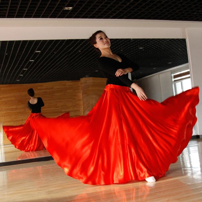 Women Spanish Stage Party Wear Flamengo Belly Dance Red Halloween Skirt Performance Costumes Spain Vestido Flamenco Satin Dress