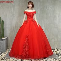 Red Off The Shoulder Ball Gown Quinceanera Dresses 2020 Elegant Boat Neck Formal Party Long Prom Gowns Lace  up Robe De Soiree
