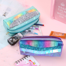 цена на Girls Large Capacity Pencil Case Double Zipper Sequin Pencil Bag Tassel PU Pen Box Cosmetic Bag School Supplies Stationery Gift