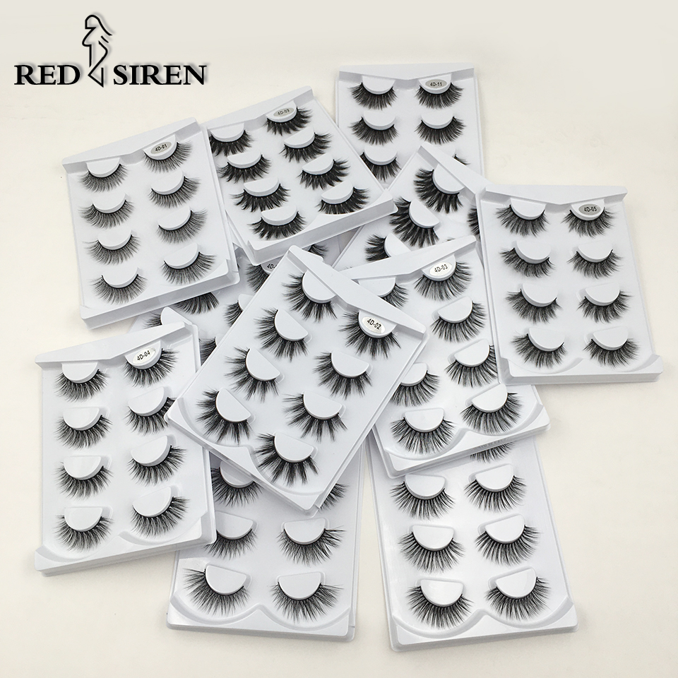 RED SIREN 4 Pairs False Eyelashes 3D Faux Mik Lashes Handmade Natural Eyelashes Soft Volume Fake Lashes Makeup Eyelash Extension