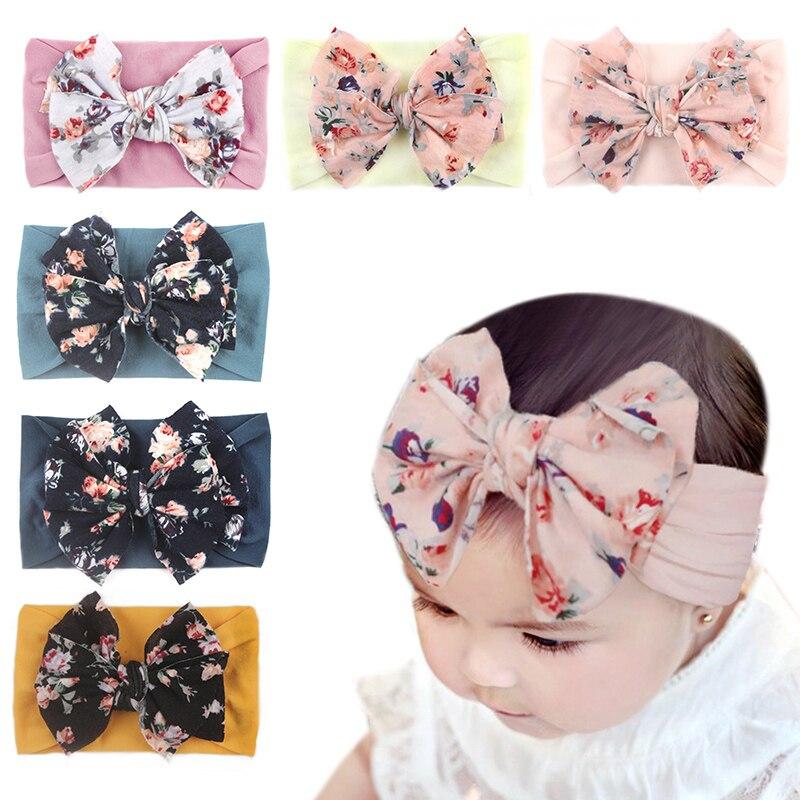Детская резинка для волос Бесшовные Супермягкие нейлоновые повязки на голову с цветами для новорожденных маленьких девочек повязка для во...