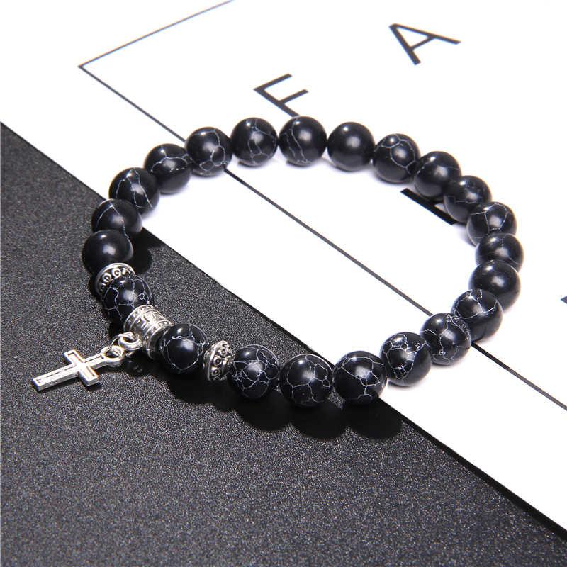 Naturalny czarny onyks bransoletka z koralików moda wulkaniczna lawa zroszony srebrny krzyż wisiorek Charm bransoletka dla kobiet mężczyzn biżuteria energii