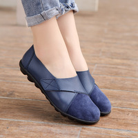 2021 Woman's Flats Shoes woman Soft Genuine Leather Big Size 35-44 mocassin Boat Shoes for Women Hook Loop mocasines de mujer 1