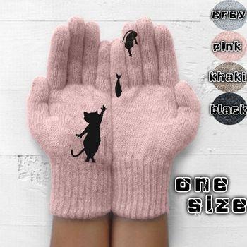 Damskie rękawiczki wełniane jesienne i zimowe na zewnątrz ciepłe i odporne na zimno zagęszczone kociaki i rybki drukowane rękawiczki tanie i dobre opinie Dla dorosłych CN (pochodzenie) Unisex Akrylowe Cartoon Nadgarstek Moda