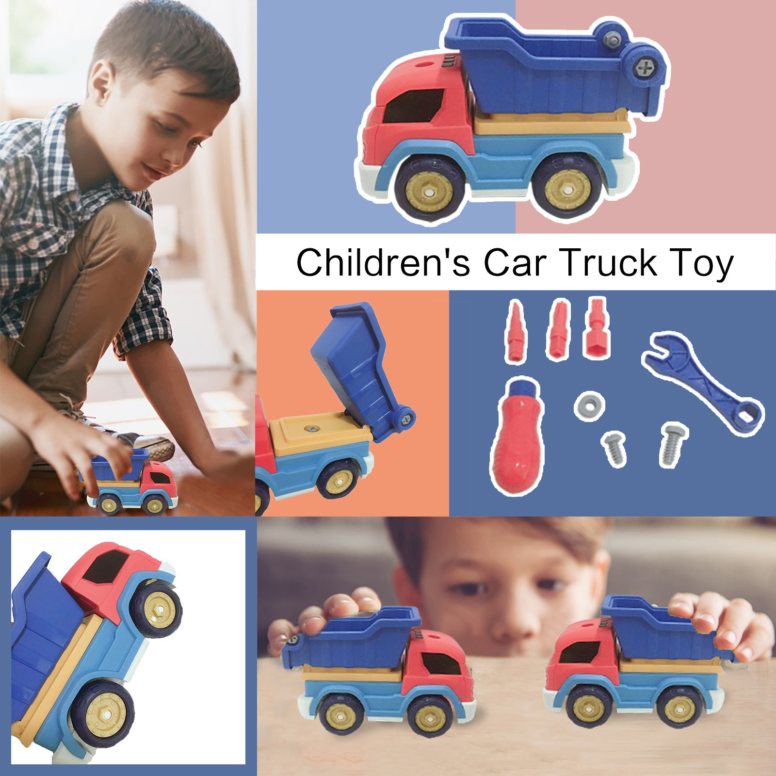 Nut Disassembly Engineering Truck Construction Engineering Stem Tools Learning Toys Screw Building Play Kids Children Car Model