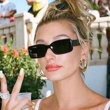 Celebrity czarne prostokątne okulary przeciwsłoneczne wąskie kwadratowe odcienie mody kobieta okulary luksusowe 2020 rama z tworzywa UV400