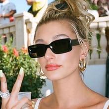Celebrity Black Rectangular Sunglasses Narrow Square Fashion Shades Woman Sun Glasses Luxury 2020 Plastic Frame Eyewear UV400