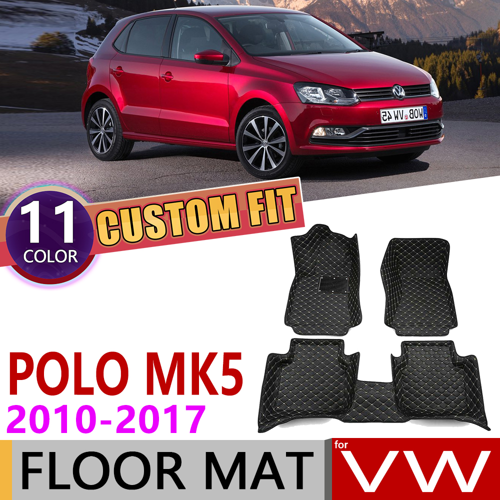 Custom Car Leather Floor Mats For Volkswagen VW Polo MK5 6R 6C 2010~2017 5 Seats Auto Foot Pad Carpet Accessories 2011 2015 2016