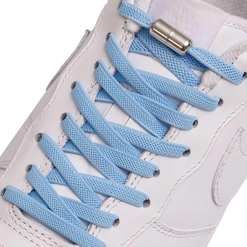 No Tie Elastic Flat Shoelaces Metal Buckle Kids Adults Sneakers Shoe Laces 1Pair